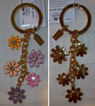 Coach Floral Flower Multi Mix Enamel Keychain Key Fob 93117 NWT  - $49.00