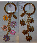 Coach Floral Flower Multi Mix Enamel Keychain Key Fob 93117 NWT  - $49.00