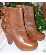 Juicy Couture Leather Boots Serena British Tan Brown 11 New - $44.00