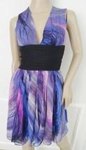 Elizabeth & James Sunset Dana Silk Cocktail Party Dress Sz 0 Purple Print $395 - $148.44