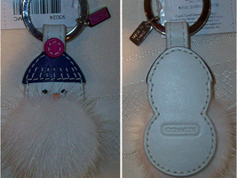 Coach Mink Leather Snowman Key Fob 93024 With Real Mink Fur NWT - $49.00