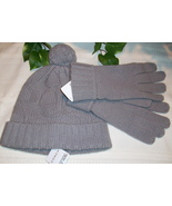 Coach Sculpted C Hat 80701 Sculpted C Gloves 80703 Set Gray Grey NWT  - $39.00