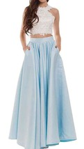 Fanmu Two Piece Satin Long Prom Dresses Evening Gowns Blue US 2 - $115.99