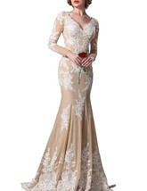 Fanmu V-Neck Mermaid Long Sleeves Prom Dresses Evening Gowns Champagne US 26plus - $129.99