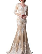 Fanmu V-Neck Mermaid Long Sleeves Prom Dresses Evening Gowns Champagne US 24plus - $129.99