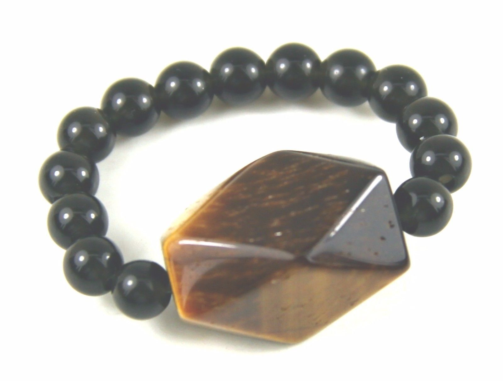 Ring, Genuine Gemstones of Faceted Tigers Eye Round Black Onyx Bead Stretch Ring