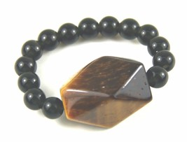 Ring, Genuine Gemstones of Faceted Tigers Eye Round Black Onyx Bead Stre... - $9.90