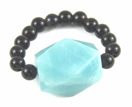 Ring, Genuine Gemstones of Faceted Blue Gemstone Round Onyx Beads Stretc... - $9.90