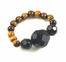 Ring, Genuine Gemstones of Faceted Black Onyx Round Tiger's Eye Stretch ... - $9.90