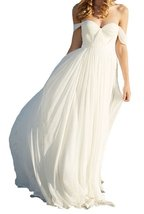 Fanmu A Line Empire Long Chiffon Bridal Wedding Dresses White US 2 - $109.99
