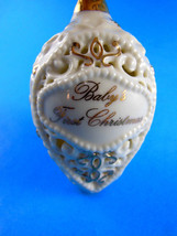 """Ganz porcelain Baby's First 1st Christmas ORNAMENT 4"""" Ivory & Gold light cover - $8.41"""