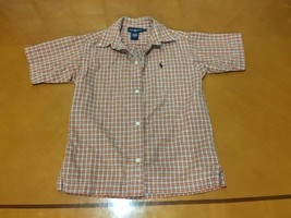Boys Kids Ralph Lauren Orange Plaid Short Sleeve Button Down Shirt Size 5 - $6.92