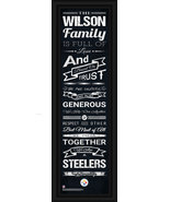 "Personalized Pittsburgh Steelers ""Family Cheer"" 24 x 8 Framed Print  - $39.95"