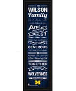 Personalized University of Michigan Wolverines- 24 x 8 Family Cheer Fram... - $38.50