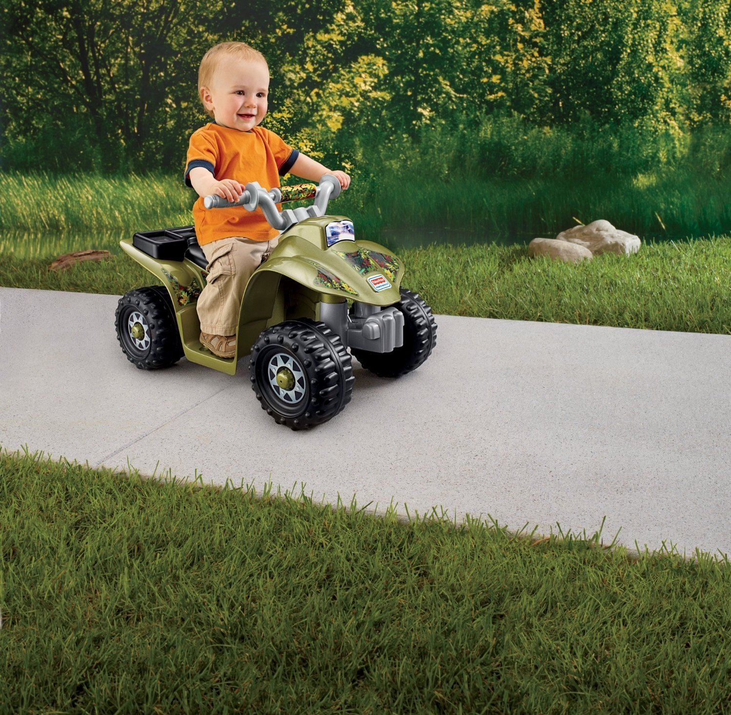 Power wheels camo quad 4 four wheeler play ride on toy for Motorized quad for toddler