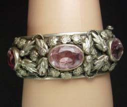 Antique Art Nouveau Bracelet bangle Amethyst glass Gypsy relief silver leaf  - $325.00