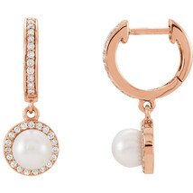 Freshwater Cultured Pearl & 1/5 ct. tw. Diamond Earrings In 14K Rose Gold - $712.79