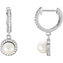 Freshwater Cultured Pearl & 1/5 ct. tw. Diamond Earrings In 14K White Gold - $692.99