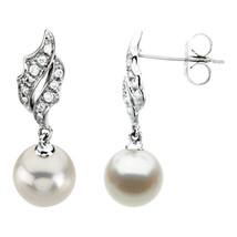 Freshwater Cultured Pearl & Diamond Earrings In... - $445.49