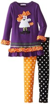 Little Girl 2T-6X Purple Trick-or-Treat Ghost Knit Dress/Legging Set,Bonnie Jean