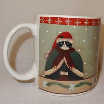 Cat Sweater Hat Coffee Mug 12 oz Cup Sakura Christmas Stoneware Holiday Cats - $14.89
