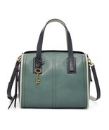Fossil Emma Arctic Mist Leather Zipper Closure Double HandleSatchel/Shou... - $339.99