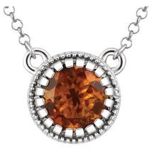 """Citrine """"November"""" 18"""" Birtstone Necklace In 14K White Gold - $296.99"""