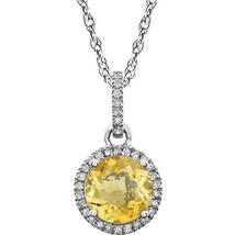 Diamond & Citrine Birthstone Necklace In 14K White Gold (1/10 ct. tw.) - $296.99