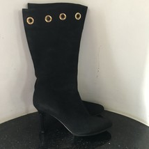 Jimmy Choo Black Suede Jinx Cuffed Eyelet Ankle Boots Shoes 37 7 - $350.00