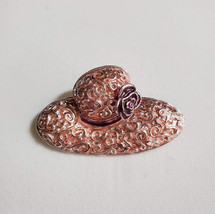 Liz Claiborne Brooch Peach Colored Hat Shaped Pin - $35.00