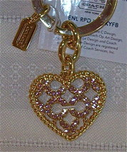 Coach Enamel Roped Heart Signature Keychain Key Fob 93170 NWT Brass - $39.00