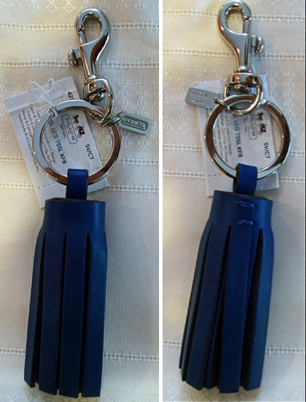 Coach Leather Legacy Single Tassel Keychain Key Fob Charm 62376 Cobalt Blue Navy