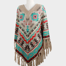 Boho Aztec Western pattern knit tassel poncho  - $44.99