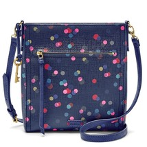 Fossil Emma NS Navy PVC/Cotton 1 Zipper Pocket Zipper Closure Crossbody - $215.99