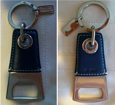 Coach Mens Leather Bottle Opener Keychain Key Fob 60435 MSRP $98 Blue - $39.00