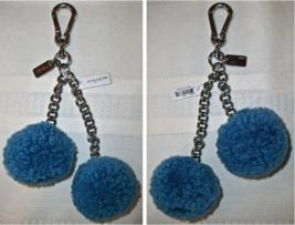 Coach Pom Pom Poms Shearling Charm Keychain Key Fob Keyfob 64764 NWT Blue - $29.00
