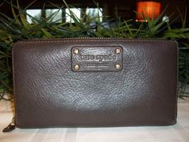 Kate Spade Leather Zip Around Zippy Clutch Wallet Mahogany Brown EUC - ₨1,605.50 INR