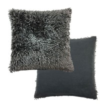 """LUXURIOUS CHARCOAL SHAGGY CHENILLE TWIST THICK SUPERSOFT 17""""-43CM CUSHIO... - £7.36 GBP"""