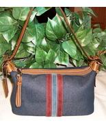Coach Denim Stripe Demi Pouch Handbag Purse 6854 Zip Zipper Top - $19.00