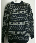 Vintage Gap Clothing Company Sweater Medium M Wool Hand Knit Navy Grey - $28.04