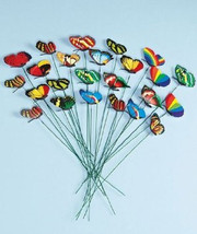 Set of 12 Garden Yard Planter Colorful Whimsical Butterfly Stakes (FREE ... - £13.99 GBP