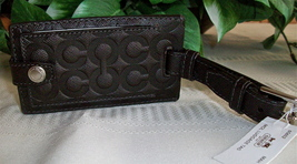 Coach Molly Embossed Op Art Leather Luggage Tag 60652 Mahogany Brown NWT... - $19.00
