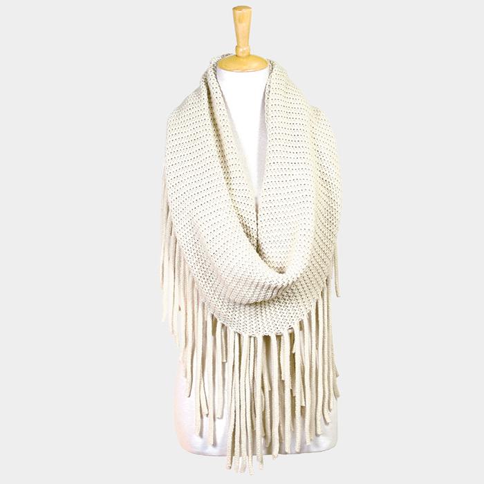 Long fringe knit infinity scarf
