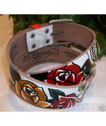 Ed Hardy Leather Belt EH3206 Skull Roses White ... - $18.00