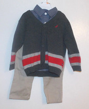 Nautica Infant Boys 3pc Outfit Sweater Shirt Pants Size 12 Months NWT - $20.99
