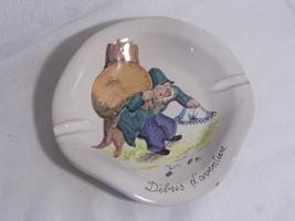 vintage rare J W CO Italy POTTERY Tobacciana  ASHTRAY Debris d' Aventure old man - $6.99
