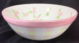 "Zrike Tracy Porter 12"" Serving Bowl Pink Green Flowers Hand Painted - $44.55"