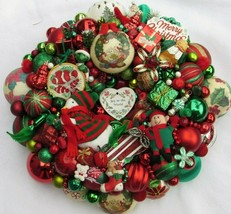 Vintage Christmas ornament wreath 19 Inch Red Green White Germany Glass ... - $222.74
