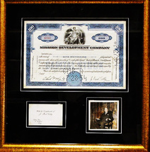 J. Paul Getty Signed Photograph with 100 Share Certificate 1954 - Framed... - $2,950.00