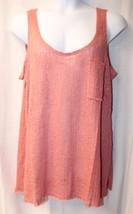 New Womens Plus Size 3 X Rosy Dusty Pink Crochet Pocket Raw Edge Tank Top - $19.33